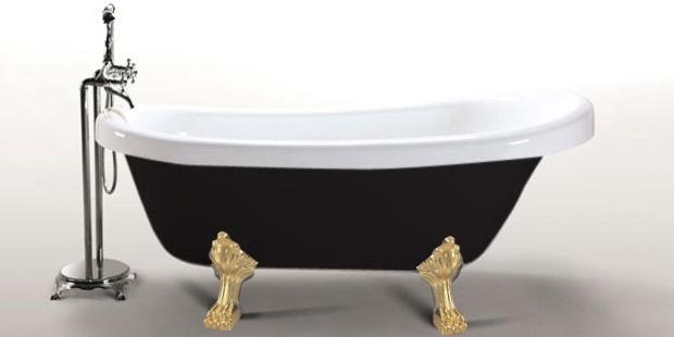 Vasca da bagno margherita nera con piedini oro - Vasca da bagno nera ...